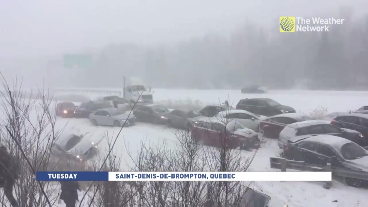 Whiteout conditions plague Quebec, 50-car pileup ensues